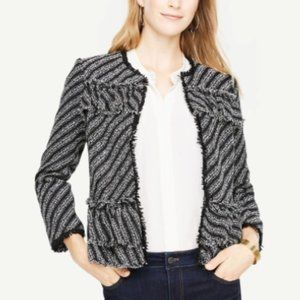 Ann Taylor Ruffle Tweed Diagonal Stripe Jacket, 8